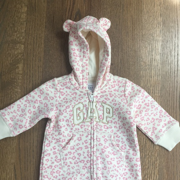 Gray Pink Floral Size 2 Years NWT Baby Gap Floral Hoodie Zip Front